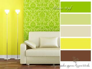 Зеленый и желтый цвета в интерьере