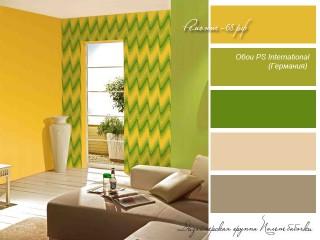 Зеленый и желтый цвет в интерьере
